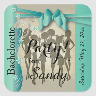 Bachelorette or Birthday Party Diva Girls Square Sticker