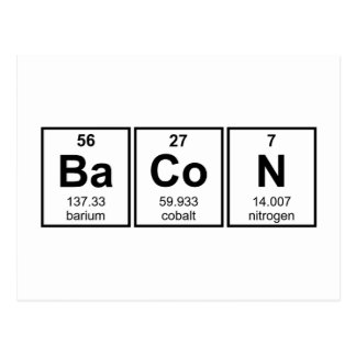 Bacon Periodic Table Element Symbols Postcard