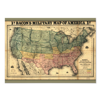 Bacon's Military Map of the United States (1862) 13 Cm X 18 Cm Invitation Card