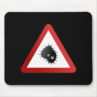 Bacteria Warning Sign Mouse Pad