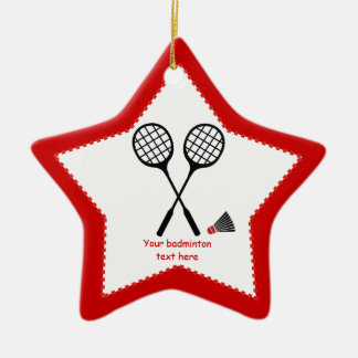 Badminton gifts, racquet and shuttlecock custom ceramic star decoration