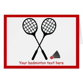 Badminton gifts, racquet and shuttlecock custom gi greeting card
