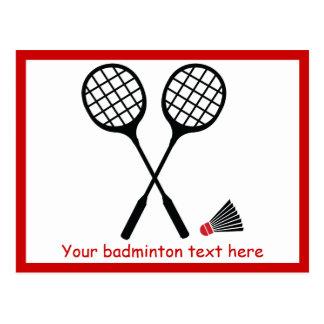 Badminton gifts, racquet and shuttlecock custom postcard
