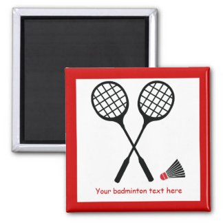 Badminton gifts, racquet and shuttlecock custom square magnet