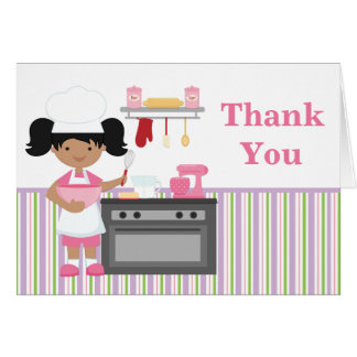 Baking Birthday Party Thank You African American Note Card