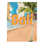 Bali Beach vintage travel poster Postcard