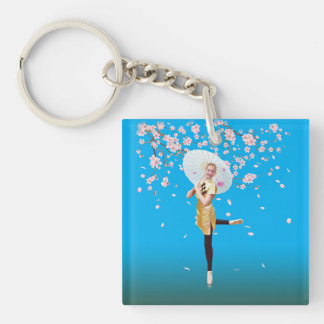 Ballerina and Cherry Blossoms Double-Sided Square Acrylic Key Ring