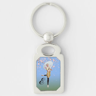 Ballerina and Cherry Blossoms, Monogram Silver-Colored Rectangle Key Ring