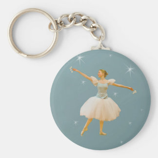 Ballerina in Green and White Basic Round Button Key Ring