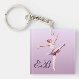 Ballerina in Pink and Lavender, Monogram Double-Sided Square Acrylic Key Ring