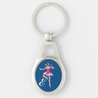 Ballerina in Pink and White with Monogram Silver-Colored Oval Key Ring