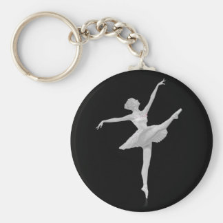Ballerina in Silver and Black Customizable Basic Round Button Key Ring