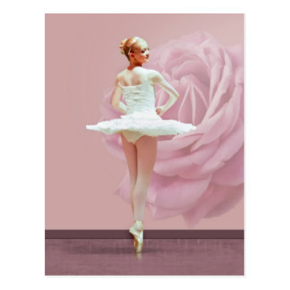 Ballerina in White with Pink Rose Postcard