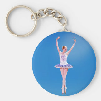 Ballerina on Point in Blue and Purple Keychain