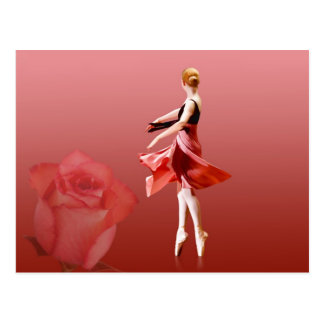 Ballerina On Pointe with Red Rose Postcard
