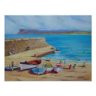 Ballycastle Harbour oil painting by Joanne Casey,  Poster