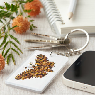 Bamboo Borer Moth Life Cycle Silhouette Double-Sided Rectangular Acrylic Key Ring