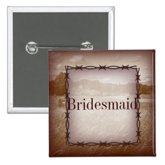 barbed wire western country bridesmaid 15 cm square badge