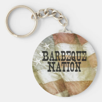 Barbeque Nation USA (with a Q) Basic Round Button Key Ring
