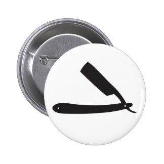 barbershop razor 6 cm round badge