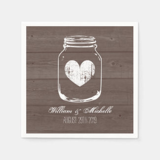 Barn wood country chic mason jar wedding napkins paper serviettes