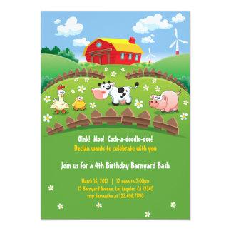 Barnyard Farm Kids Birthday Invitations