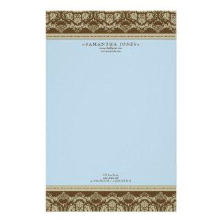 Baroque Damask Designer Stationery :: powder blue