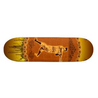 Baseball player on a round button 18.4 cm mini skateboard deck