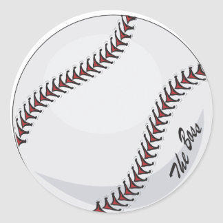 Baseball 'The Boss' ~  with editable background Round Sticker