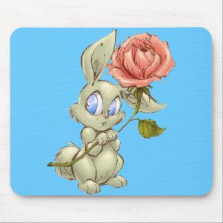 Bashful Bunny and Rose Mousepad