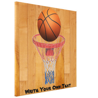Basketball - 3D Effect - Write Your Own Text Gallery Wrap Canvas