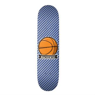 Basketball on Blue & White Stripes Custom Skate Board