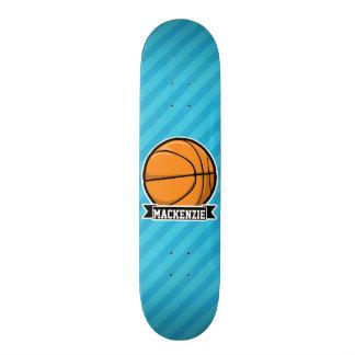 Basketball on Sky Blue Stripes Skate Deck