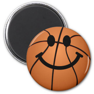 Basketball smiley face 6 cm round magnet