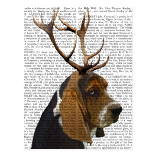 Basset Hound and Antlers Postcard