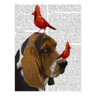 Basset Hound and Birds Postcard