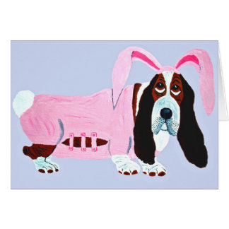 Basset Hound In Pink Bunny Suit Note Card