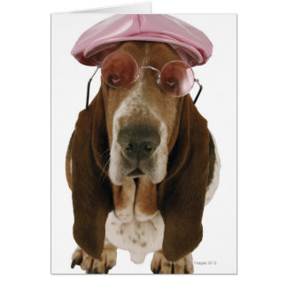 Basset hound in sunglasses and cap greeting card