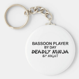 Bassoon Deadly Ninja by Night Basic Round Button Key Ring