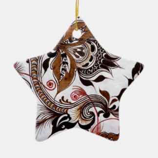 batik no.4 colection ceramic star decoration
