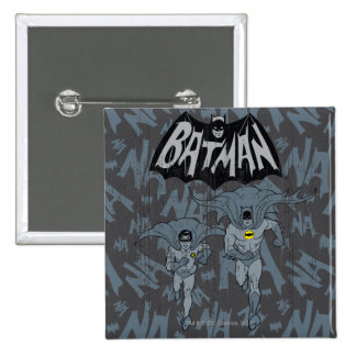 Batman And Robin With Logo Distressed Graphic 15 Cm Square Badge