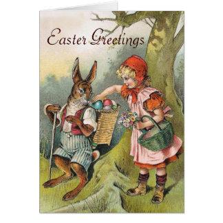 Bavarian Easter Bunny Eggs Victorian Girl Card