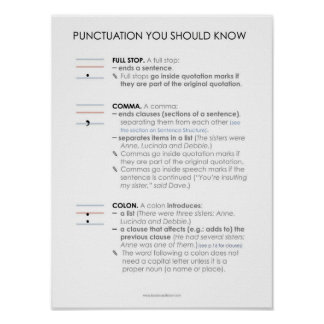 BBF Punctuation I classroom poster