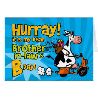 bd scooter cow - brother-in-law greeting card