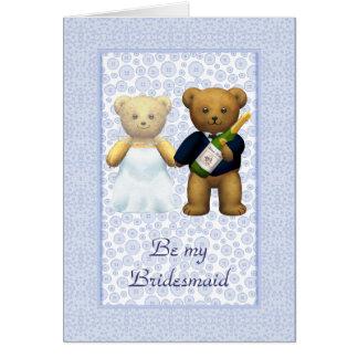 Be my Bridesmaid Blue Teddy bear couple invite Greeting Card