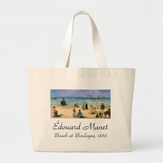 Beach at Boulogne by Manet, Vintage Impressionism Jumbo Tote Bag