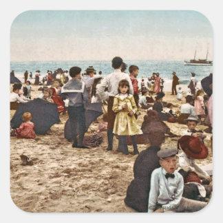Beach At Coney Island, New York 1902 Vintage Square Sticker