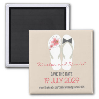 Beach Hibiscus Flip Flops Save The Date Wedding Square Magnet