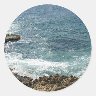 Beach Meets Ocean Round Sticker