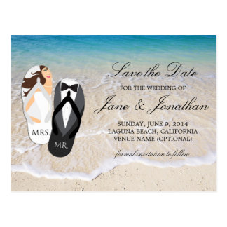"""Beach Ocean """"Mr. and Mrs."""" Wedding Save the Date Postcard"""